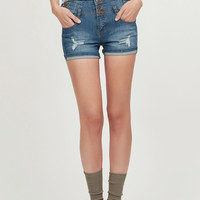 LE3NO Womens Stretchy High Waisted Denim Jean Shorts (CLEARANCE)
