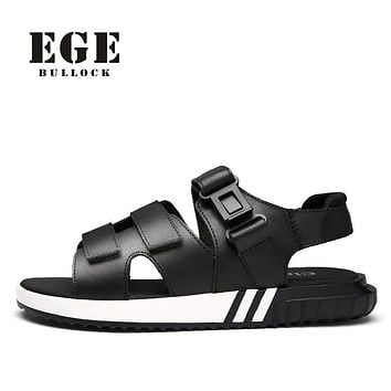 EGE Brand Men Fashion Sandals Handmade Genuine Leather Italian Style Casual Beach Shoes Summer Casual Rome flip flops for Men