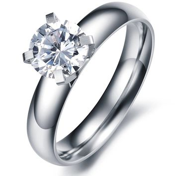 Brand New! Lady's Gorgeous Simple Korean Stylish Titanium Wedding Band Ring with Cubic Zirconia Stone (Size Selectable)