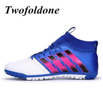 Men football boots Flat Turf Cleats Ankle Football Shoes Kids/boys futsal ball High Sneakers Sports training soccer boots