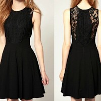 Elegant Chiffon Sleeveless Black Lace Dress for Summer