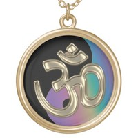 Black and Rainbow Yin-Yang Gold OM-Symbol Necklace