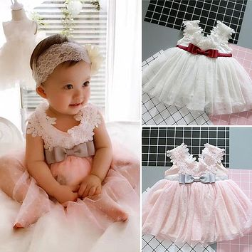 Newborn Infant Princess Kids Party Costume Outfit Tulle Christening Gown Baby Girl Wedding Dress 1 Year Birthday Baby Dress Girl