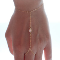 Slave bracelet - hand chain 14k gold filled  tiny cz cubic zirconia diamonds ring chain bracelet