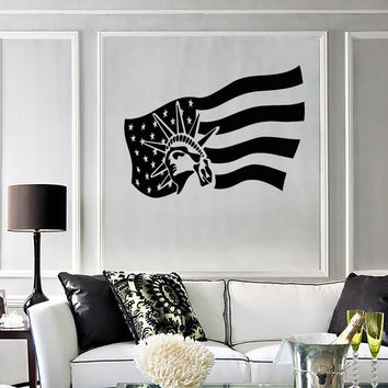 Wall Stickers Vinyl Decal United States Of America Flag Statue O
