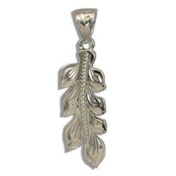 Fine Engraved Sterling Silver Hawaiian Maile Leaf Pendant