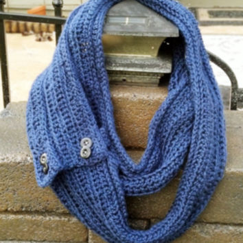 Navy Convertible Infinity Scarf with Buttons- Crochet for Women or Teen