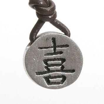 Rhodium plated Pewter Chinese happiness symbol pendant