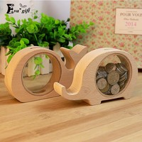Small wooden Money Box  animal creative design piggy bank wood & acrylic can be used for children cute gift & decor
