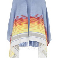 Striped Hooded Cape - Blue