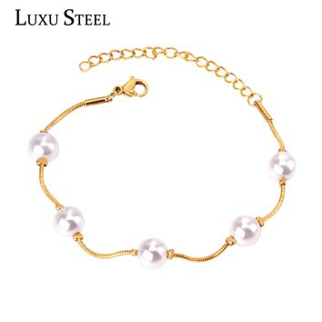 LUXUSTEEL Snake Chain Bracelets Bangles Stainless Steel Gold/Silver With Imitation Pearl Bracelets Female Bijoux Party Gift