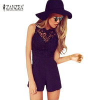 Women Rompers Bodysuit 2016 Fashion Summer Bodycon Sexy Lace Backless Patchwork Sleeveless Jumpsuit Overalls Plus Size S-5XL