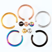 10PCS/lot 16G Stainless Steel horseshoe piercings Captive Bead Ring BCR Lip Nose Ear Tragus Septum Rings Body Piercing Jewelry