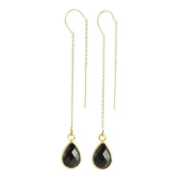 Gemstone Drop Threader Earrings in Black Spinel