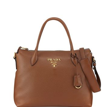 Prada Women's Brown Vitello Phenix Leather Handbag 1BA063