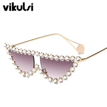 Crystal Sunglasses Small Vintage Women Brand Designer Luxury 2019 New Fashion Eyewear Gradient Lens UV400 Sexy Retro Sun Glasses
