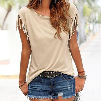 New Summer fashion T-shirt Sexy women O Neck Solid Color Tassel short sleeve T-shirt -0629