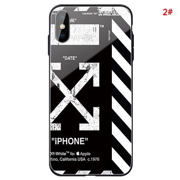 Off White Fashion New Letter Arrow Print Women Men Glass Shell Protective Cover Phone Case 2#
