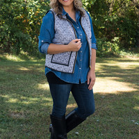 Curvy| Family Holiday Vest - Black/Taupe/White