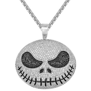 Sterling Silver Jack Skellington Iced Out Pendant