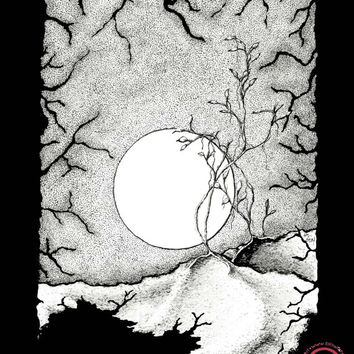 ELSEWHERE: black and white art print, surreal landscape,  stipple, pen drawing, pen and ink illustration - 8x10 Limited Edition Print