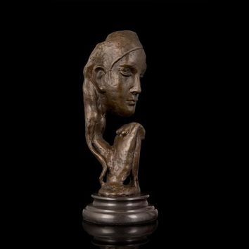 Our Jewish Mothers Art Sculpture - Abstract Face Shape Bronze  Statue In Prayer