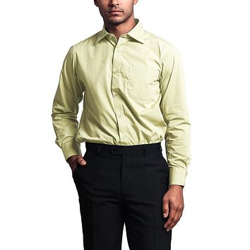 Regular Fit Long Sleeve Dress Shirt - Light Yellow