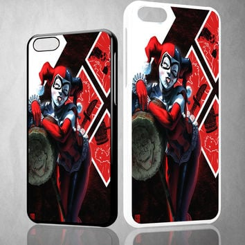 HARLEY QUINN WITH MALLET V0122 iPhone 4S 5S 5C 6 6Plus, iPod 4 5, LG G2 G3 Nexus 4 5, Sony Z2 Case