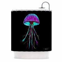 "Ivan Joh ""Night Of Jellyfish"" Black Purple Shower Curtain"