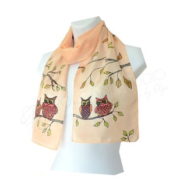 Silk Scarf Owls Hand Painted. Bird Scarf Beige Brown Green. Soft Orange Scarf. Small Scarf  8x53 inches. Ready to ship.