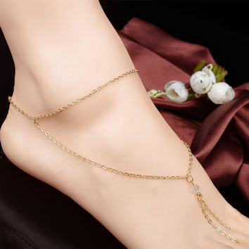 Jewelry Sexy Ladies Stylish New Arrival Shiny Gift Cute Accessory Summer Hot Sale Simple Design Crystal Chain Tassels Anklet [6768800583]