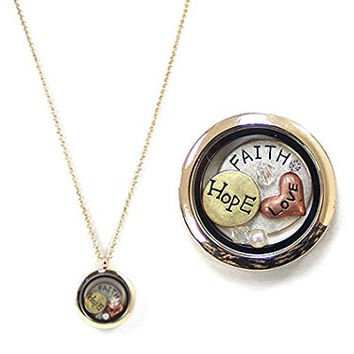 Womens Jewelry, Gold Tone Locket Faith.hope.love 24 Inch Necklace.