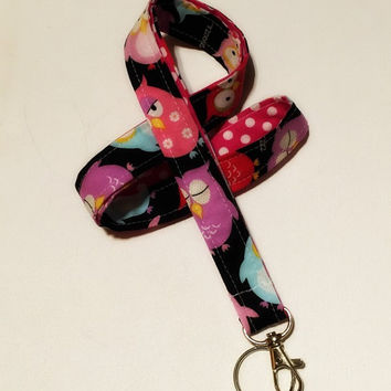Lanyard  ID Badge Holder - Lobster clasp and key ring - ZZ Owl  white polka dots pink two toned double sided