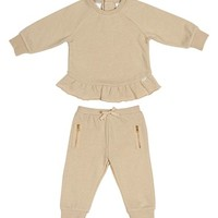 Infant Girl's Kardashian Kids Metallic Sweatshirt & Track Pants