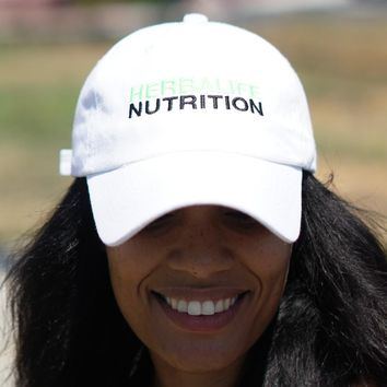 Herbalife Nutrition polo dad hat, white w/black