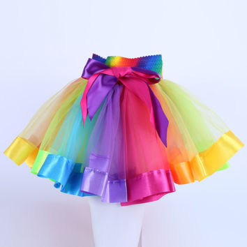 Kids Tutu Skirt Tulle Dance Ballet Skirts Wear Girls Toddler Rainbow Costume SM6