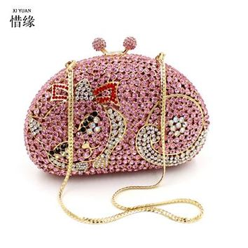 XIYUAN BRAND Female Crystal Clutch Bags Fashion Design Women Beaded Handbags girls Shine Rhinestone Diamond Wedding Day Clutches