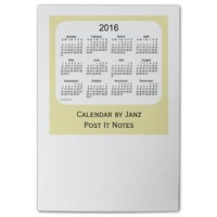 2016 Pale Goldenrod Post It Note Calendars by Janz Post-it® Notes