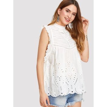 Eyelet Embroidered Frill Trim Blouse White