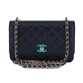 16A Chanel Black CC Classic Wallet on Chain WOC Flap Bag