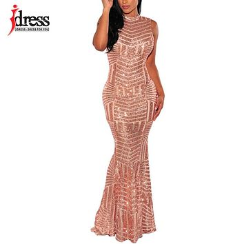 IDress Elegant Fishtail Lace Patchwork Long Dress Strapless Floor Length Sequin Maxi Dress 2018 New Women Sexy Prom Party Dress