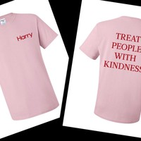 Harry Styles - Harry Logo in Corner / Treat People With Kindness Back T-Shirt