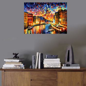 WEEN Night Venice Diy Painting By Numbers Abstract River Boat Oil Painting On Canvas Star Cuadros Decoracion Acrylic Wall Art