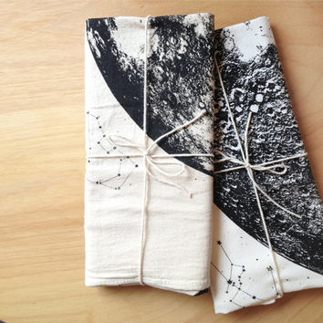 Unbleached Full Moon Towel, hand printed in Portland, reusable cloth, space stars and animal constellations print