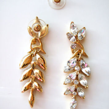 Crown Trifari Kunio Matsumoto Rhinestone earrings pierced