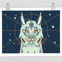 Mystical Lynx Art Print - Astronomical Cat, space cat, fine art print, magical cat, starry sky, animals, wall art, cat poster, gift ideas