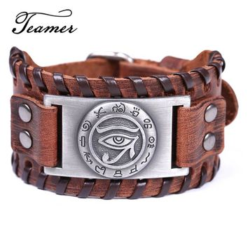 Teamer Vintage Wide Leather Bracelets for Men Handmade Braided Metal Viking Bracelet Adjustable Strap  Eye of Horus Pattern