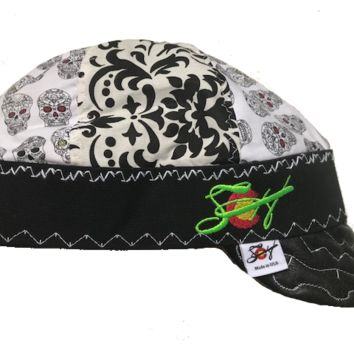 Sugar Skull/Damask Hybrid Welding Cap Embroidered W/Leather Bill