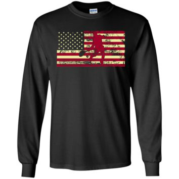 Male Tennis Player Silhouette On The American Flag LS Ultra Cotton Tshirt