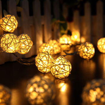 2M 20 LED  Rattan Ball LED String Christmas Lights